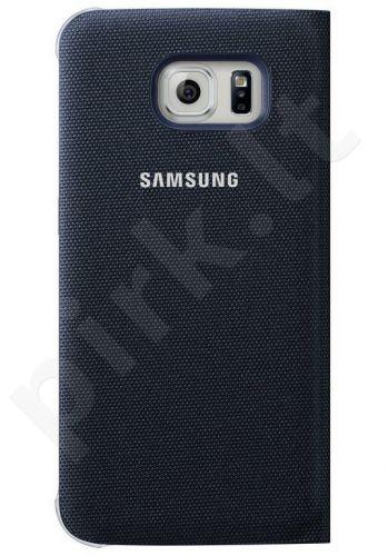 Samsung Galaxy S6 EDGE atverčiamas dėklas piniginė medžiaginis juodas