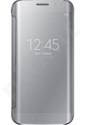 Samsung Galaxy S6 EDGE skaidrus atverčiamas dėklas sidabrinis
