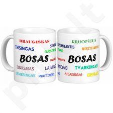 Puodelis su įmonės logotipu ir boso vardu