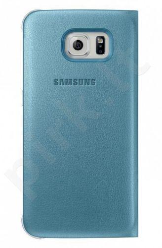 Samsung Galaxy S6 atverčiamas dėklas piniginė Odinis mėlynas