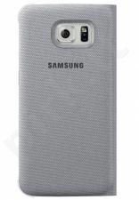 Samsung Galaxy S6 EDGE atverčiamas dėklas piniginė medžiaginis sidabrinis