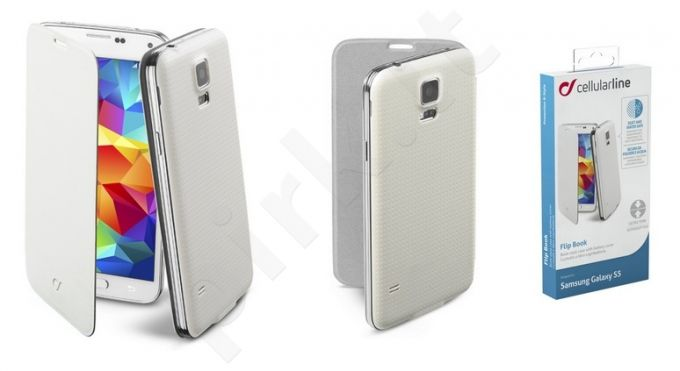 Samsung Galaxy S5 dėklas FLIP BOOK Cellular baltas