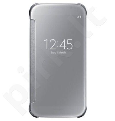 Samsung Galaxy S6 skaidrus atverčiamas dėklas sidabrinis