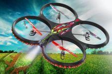Radio bangomis valdomas Jamara Flyscout dronas su kompasu ir HD kamera