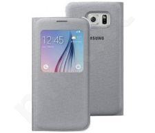 Samsung Galaxy S6 S View dėklas medžiaginis sidabrinis