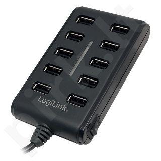 Šakotuvas LogiLink USB2.0, 10 portų, ON/OFF mygtukas