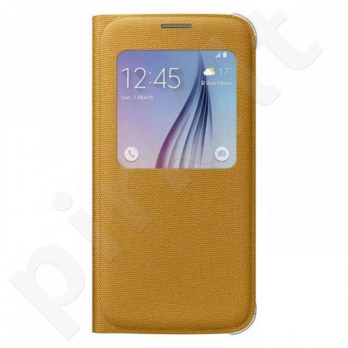 Samsung Galaxy S6 S View dėklas medžiaginis geltonas