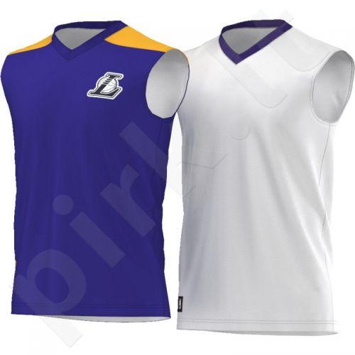 Marškinėliai dvipusė  krepšiniui Adidas Summer Run Los Angeles Lakers M AJ1886