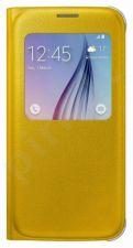 Samsung Galaxy S6 S View dėklas Odinis geltonas