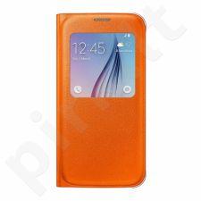 Samsung Galaxy S6 S View dėklas Odinis oranžinis