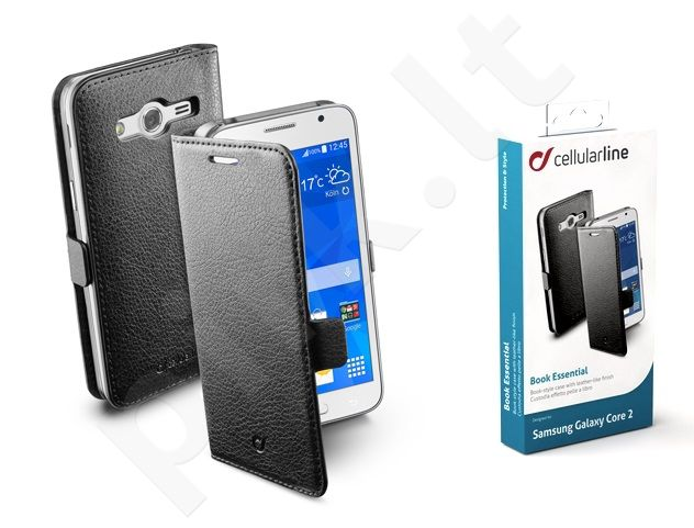 Samsung Galaxy Core 2 dėklas BOOK ESSEN Cellular juodas