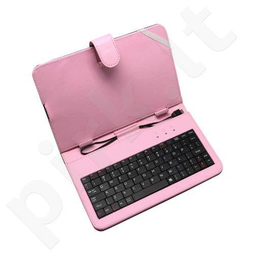 ART dėklas + micro USB klaviatūra skirta planšetiniams kompiuteriams 7'' rožinis