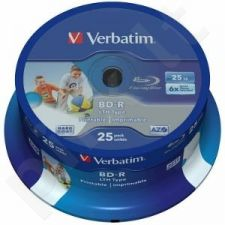 BluRay BD-R Verbatim [ spindle 25   25GB   6x  WIDE PRINTABLE NO ID SURFACE ]