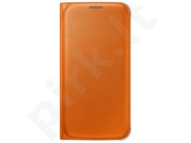 Samsung Galaxy S6 atverčiamas dėklas piniginė Odinis oranžinis
