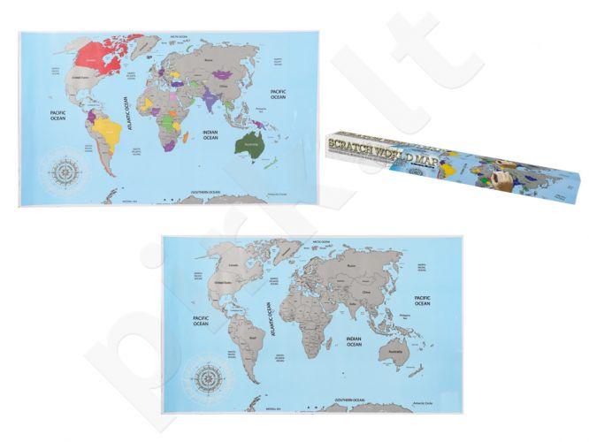 Keliautojo žemėlapis kartoninėje dėžutėje - nutrink aplankytas vietas (88 x 52cm)