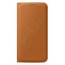 Samsung Galaxy S6 atverčiamas dėklas piniginė medžiaginis oranžinis