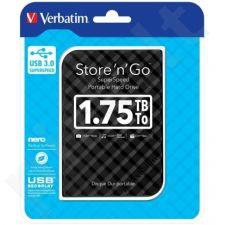Išorinis diskas Verbatim Store & Go G2 2.5inch 1.75TB USB3.0, Plonas dizainas