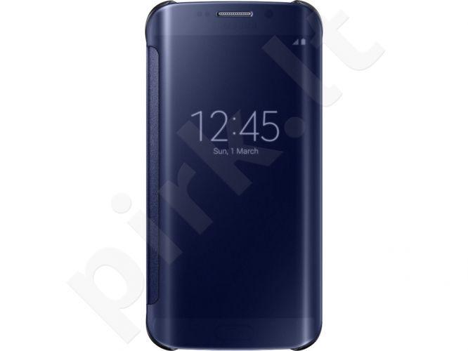 Samsung Galaxy S6 EDGE skaidrus atverčiamas dėklas juodas