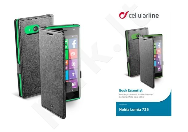 Nokia 730 Lumia dėklas BOOK ESSEN Cellular juodas
