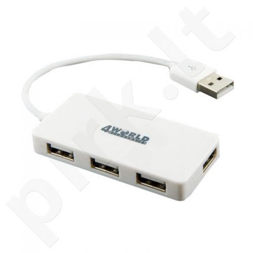 4World HUB Rectangle USB 2.0 4 portai, baltas