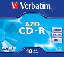 CD-R Verbatim [ jewel case 10 | 700MB | 52x | Crystal | DataLife+ AZO ]