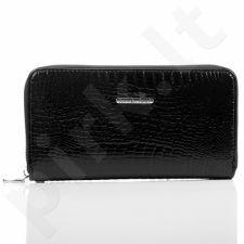 Ekskliuzyvinė juoda odinė lakuota piniginė moterims GA1
