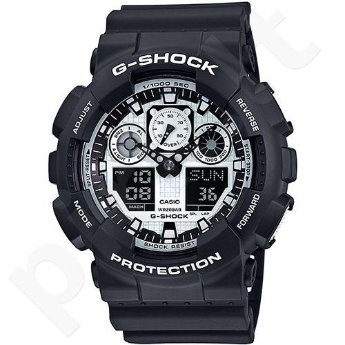Casio G-Shock GA-100BW-1ADR vyriškas laikrodis-chronometras