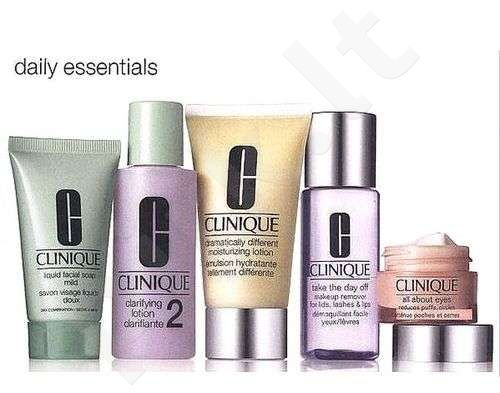 Clinique (50 ml DD ml + 15 ml All About Eyes + 30 ml Liquid Facial Soap Mild + 60 ml Clarifying Lotion 2 + 50 ml Take  the Day Off Makeup Rem) Daily Essentials Dry Combination Skin, rinkinys moterims