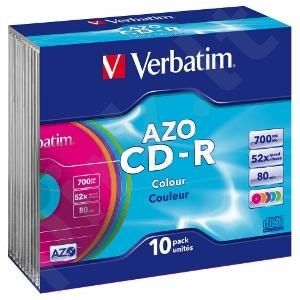 CD-R Verbatim [ slim jewel case 10 | 700MB | 52x | Colour | DataLife+ AZO ]