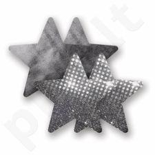 Nippies - Stars - žvaigždutės, lipdukai krūtims, Sidabriniai