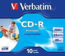 CD-R Verbatim [ jewel case 10 | 700MB | 52x | spausdinimui | DataLife+ AZO ]