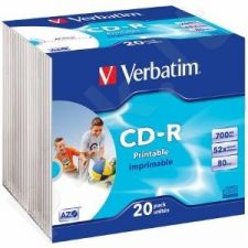 CD-R Verbatim [ slim jewel case 20 | 700MB | 52x | spausdinimui| DataLife+ AZO ]