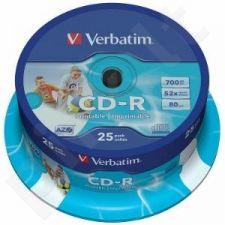 CD-R Verbatim [ cake box 25 | 700MB | 52x |Spausdinimui Retail | DataLife+ AZO ]