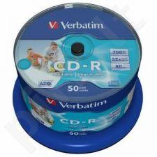CD-R Verbatim [ cake box 50 | 700MB | 52x |spausdinimui Wide | DataLife+ AZO ]