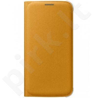 Samsung Galaxy S6 atverčiamas dėklas piniginė medžiaginis geltonas