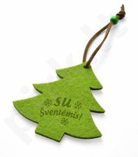 """Veltinis pakabukas """"Kalėdų eglutė"""" su lietuvišku tekstu"""