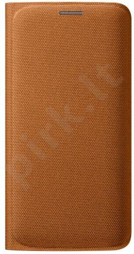 Samsung Galaxy S6 EDGE atverčiamas dėklas piniginė medžiaginis oranžinis