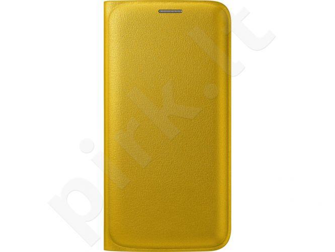 Samsung Galaxy S6 EDGE atverčiamas dėklas piniginė Odinis geltonas