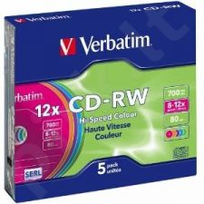 CD-RW Verbatim [ slim jewel case 5 | 700MB | 12x | Spalva ]