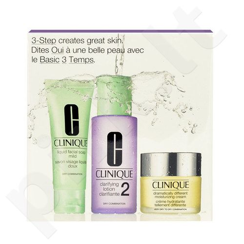Clinique Dramatically Different Moisturizing kremas rinkinys moterims, (30ml Dramatically Different Moisturizing kremas + 50ml veido muilas Mild + 100ml Clarifying Lotion 2)