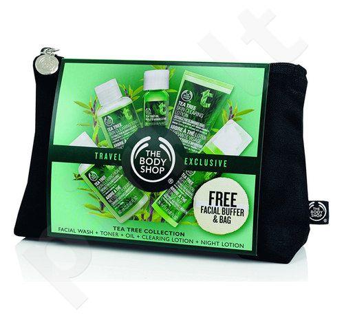 The Body Shop Tea Tree Kit rinkinys moterims, (60ml Skin Clear. Facial Wash + 60ml Skin Clear. Toner + 50ml Skin Clear. Lotion + 30ml Blemish Fade Night Lotion + 10ml Oil + Facial Buffer + krepšys)