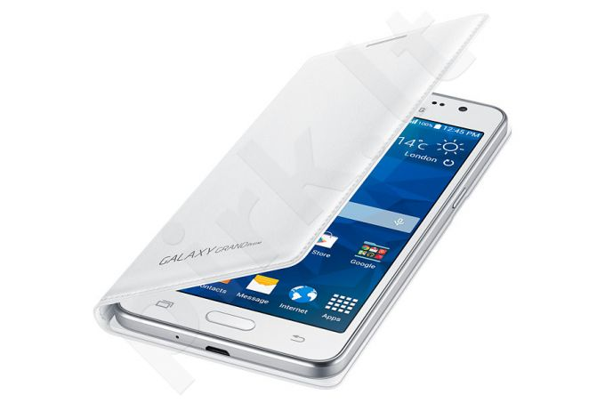 Samsung Galaxy Grand Prime atverčiamas dėklas piniginė baltas