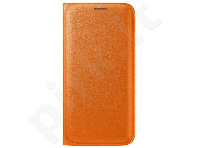 Samsung Galaxy S6 EDGE atverčiamas dėklas piniginė Odinis oranžinis