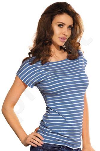 Dryžuoti marškinėliai su trump[omis rankovėmis BARI