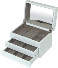 Papuošalų dėžutė 95996 medinė balta su stalčiais ir veidrodėliu 16x24x16 cm (su broku)