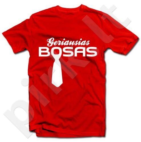 """Marškinėliai """"Geriausias BOSAS"""" Vyriški M - Raudona"""