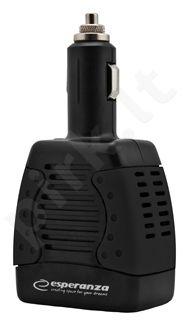 Automobilinis 12V įtampos keitiklis Esperanza 75W EZ104K 220-230V | 1x USB 5V 1,5A