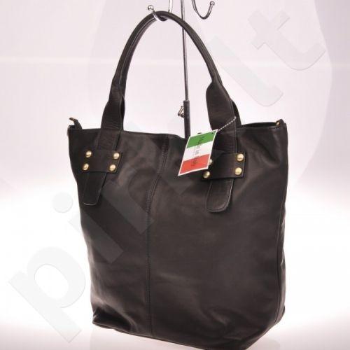 PREKĖ ŽEMIAU SAVIKAINOS! MADE IN ITALY Spalla 086 juoda itališka rankinė iš natūralios odos