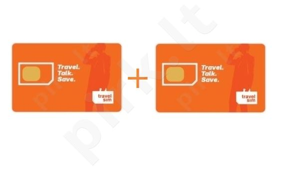 2vnt TravelSim tarptautinio ryšio SIM kortelų su 2.90Eur pokalbiams