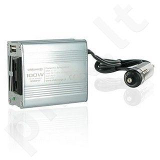 Whitenergy Inverteris AC/DC 12V (automobilis) 230V, 100W USB jungtis, mini